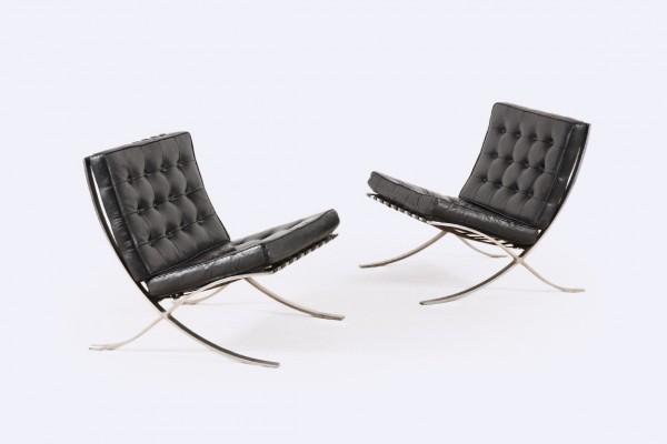 barcelona mies van der rohe knoll noir fauteuil 1950 1960
