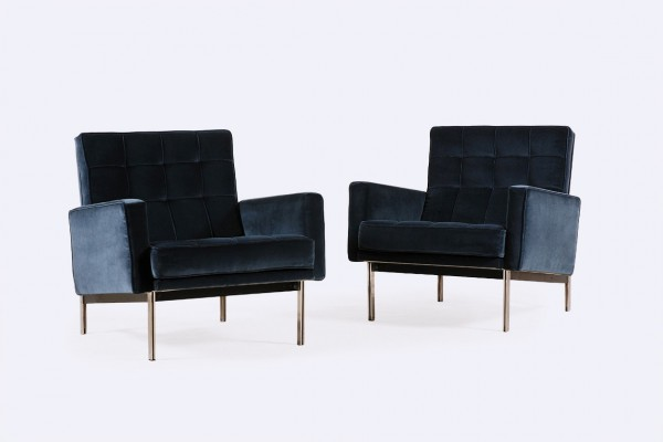 florence knoll international parallel bar blue velvet 1960